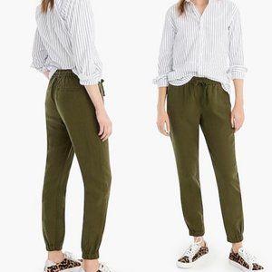 J. Crew Point Sur Army Green Seaside Linen Pants